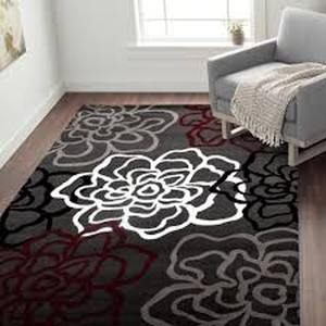 Red And Grey Polypropylene Contemporary Modern Floral Flower Area Rug Or Runner