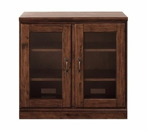 Printer's Double Glass Door Cabinet, Tuscan Chestnut