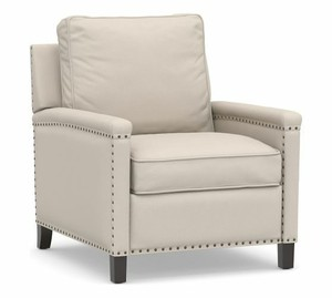 Tyler Square Arm Upholstered Recliner With Bronze Nailheads