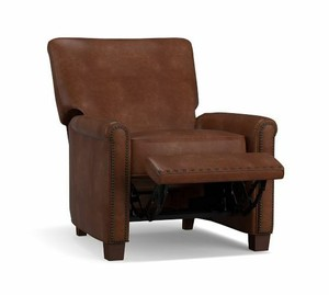 Irving Roll Arm Leather Recliner with Nailheads Vintage Carmel