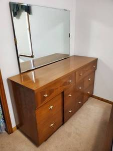Mid Century Walnut Kent- Coffey Dresser with Mirror