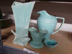 Lot of Vintage Blue Glazed Pottery