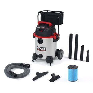 Ridgid 50353 Stainless Steel Wet/Dry Vacuum with Cart, 16 gallon, Red