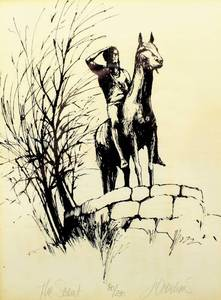 "Jane Voorhees Signed Limited Edition 80/230 Etching of ""The Scout"" - Kansas City's Famous Statue - Matted and Framed"