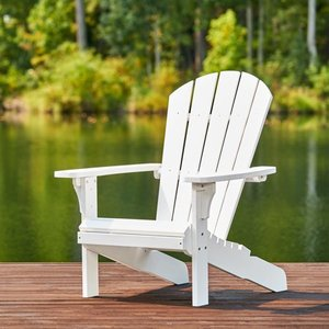 Shine Company Royal Palm Plastic Adirondack Chair - White