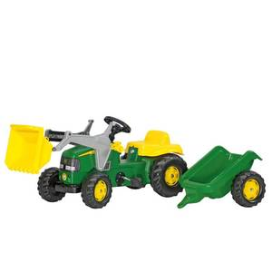Rolly Toys John Deere Kid Pedal Tractor with Front Loader and Removable Hauling Trailer