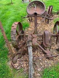Antique horse drawn sickle bar mower