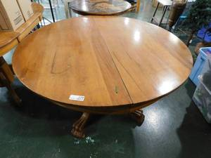 Round Wood Dinner Table With Claw Feet