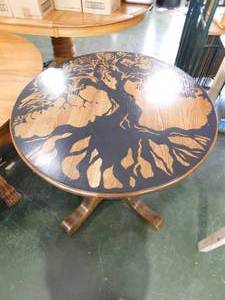 Round Wood Dinner Table With Ornate Tree Painting