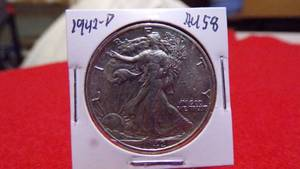 1942-D  WALKING LIBERTY HALF AU58