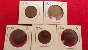 5- INDIAN HEAD PENNIES  1891, 1899, 1902, 1903, 1907