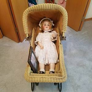 My Girlie III Germany antique doll - bisque head , composition body with carriage - original owner as seen in framed picture would be 110 years old today