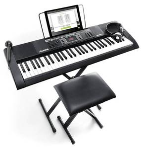 61-key Portable Keyboard With Builtin Speakers Headphones Microphone Piano Stand