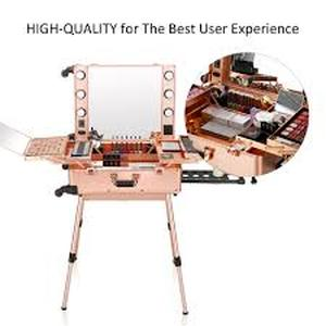 Ovonni LED Makeup Train Case, Lighted Rolling Travel Portable Cosmetic Organizer Box with Mirror & 4 Detachable Wheels, Professional Artist Trolley Studio Free Standing Workstation