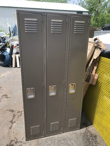 Locker set with three long lockers great for garage storage bedrooms has some shipping dents on sides and top none on front does not affect functionality would be great lockers very cheap these are high dollar lockers