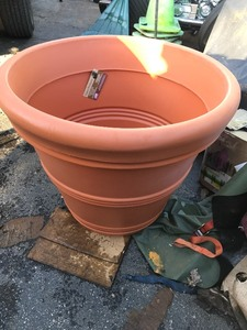 New large 30 inch round planters made of lightweight fiber material easy transport high dollar items