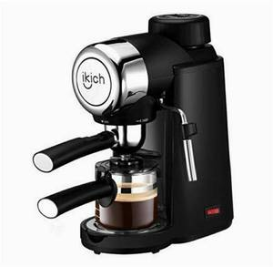 Espresso Machine, IKICH 3.5Bar 4Cup Espresso Coffee Maker with Spoon, Cappuccino Machine with Steam Milk Frother, Espresso Maker with Carafe, Black