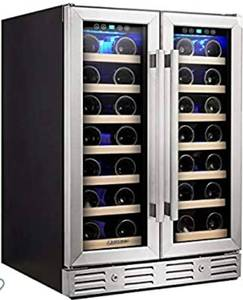 Kalamera Wine Cooler - Fit Perfectly into 24 inch Space Under Counter or Freestanding - Dual Zone - For Kitchen or Bar with Blue Interior Light and Temperature Memory Function - Damaged See Photos