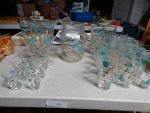 Large Vintage Glassware Set and Pitcher