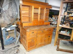 Antique wood kitchen cabinet w/ hutch top