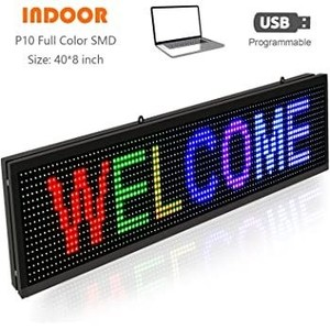 "LED Scrolling Signs Full Color 40"" x 8"" with High Resolution P10 and New SMD Message Display Indoor use USB Programmable LED Sign for Business Advertising Board - Vertical Led Sign"