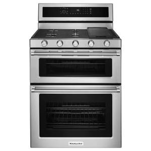KitchenAid 30 Inch Wide 6.0 Cu. Ft. Gas Freestanding Range with Double Ovens and Even-Heat Convection