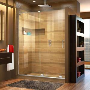 "DreamLine Mirage-X 72"" High x 56"" to 60"" Width Sliding Frameless Shower Door with Clear Glass, Left-Wall Bracket"