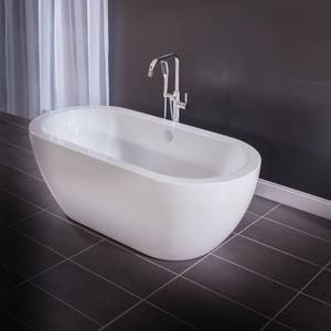"Miseno 67"" Free Standing Oval Acrylic Bathtub - Overflow Drain Assembly Included"