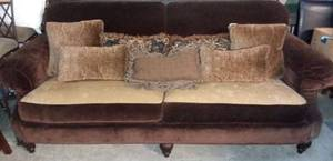 Vanguard Furniture Brown Microfiber Couch with Down Pillows