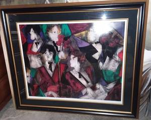 Linda Le Kinff Seriolithograph of GRANDE ORCHESTRE Framed 37 x 43 in