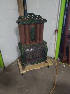 ANTIQUE TRIPLE EFFECT PARLOR STOVE GREEN ENAMELED CAST IRON