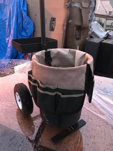Garden tool bucket and Dolly with tool pouch tires are Air up nice set up for your garden or use for tools