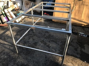 Male 6' x 3.5' stainless steel table frame would make great large pastry table or nice kitchen island just add a granite top use your imagination
