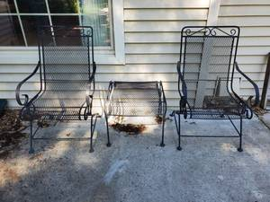 Set of 2 Black Wrought Iron Rocker Patio Chairs & Black Wrought Iron Side Table