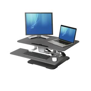 Seville Classics AIRLIFT 30 in. Black Compact Gas-Spring Pedestal Height Adjustable Ergonomic Desk Converter with Sliding Keyboard Tray
