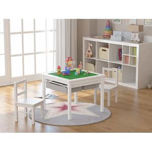 UTEX Wooden 2 In 1 Kids Construction Play Table and 2 Chairs Set with Storage Drawers and Built In Broad, White