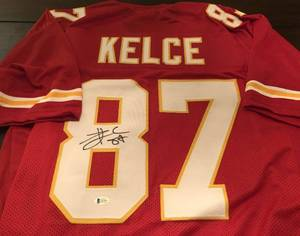 Signed Travis Kelce Custom Kansas City Chiefs #87 Jersey With Beckett WITNESSED Authentication (JSA)