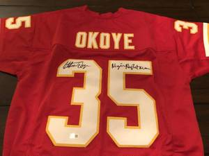 Signed Christian Okoye Custom Kansas City Chiefs #35 Jersey with Nigerian Nightmare Inscription & Tristar Authentication