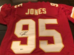 Signed Chris Jones #95 Kansas City Chiefs Custom Jersey Beckett Witnessed Certificate of Authenticity - 100% Real
