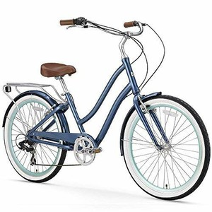 "sixthreezero EVRYjourney Women's 7-Speed Step-Through Hybrid Cruiser Bicycle, 24"" Wheels and 14"" Frame, Navy with Brown Seat and Grips, Navy w/Brown Seat/Grips"