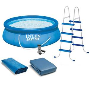 "Intex 15' x 48"" Inflatable Easy Set Above Ground Swimming Pool, Ladder And Pump"