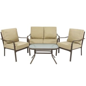 Best Choice Products 4-Piece Cushioned Furniture Conversation Set for Backyard, Patio, Lawn, Poolside w/ Loveseat, 2 Chairs, Coffee Table - Beige