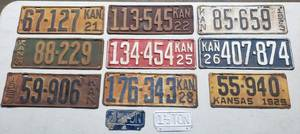 Antique Kansas Automobile License Plates ~ 1920's