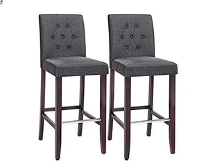 SONGMICS Set of 2 Bar Stools Kitchen Breakfast Chairs, with Button Tufted Backrest, Linen-Style Fabric, Solid Wood Legs, with Footrest, Dark Gray , Seat height: 29.9