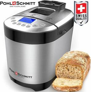 Pohl Schmitt Stainless Steel Bread Machine, 2LB 17-in-1 with Fruit Nut Dispenser, Nonstick Pan & Digital Touch Panel, 3 Loaf Sizes 3 Crust Colors, Reserve, Keep Warm, and Recipes