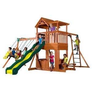 Backyard Discovery Thunder Ridge All Cedar Wood Playset Swing Set. *Complete Set Ready For Assembly