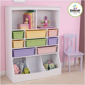 "KidKraft Wooden Wall Storage Unit with 8 Plastic Bins & 13 Compartments - White, 53"" x 20"" x 8"" MSRP $231.49"