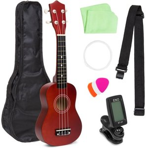 Best Choice Products Basswood Ukulele Beginner Kit w/ Carrier, Clip-On Tuner, Polishing Cloth, Extra String (Brown)
