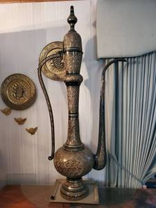 Extremely Rare 5ft 5inch Middle Eastern Solid Brass Etched Dallah - Truly Exquisite Piece