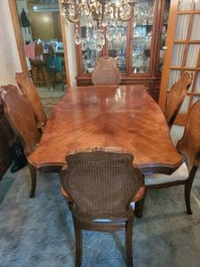 Formal Dining Table with 6 Cane Back Chairs.2 are Arm Chairs